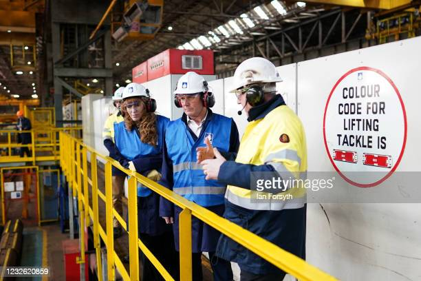 Sir Keir Starmer, Labour Party leader and Angela Rayner, Deputy Leader and Chair of the Labour Party, visit the Liberty Steal Mill on May 01, 2021 in...
