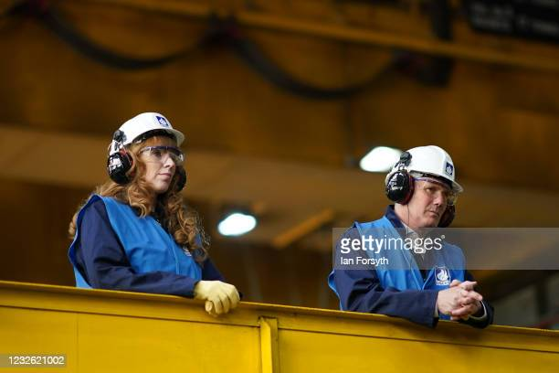 Sir Keir Starmer, Labour Party leader and Angela Rayner, Deputy Leader and Chair of the Labour Party , visit the Liberty Steal Mill on May 01, 2021...