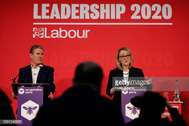 Sir Keir Starmer listens to Rebecca LongBailey speaking at a hustings event for Labour Leader and Deputy Leader hosted by the Cooperative Party at...