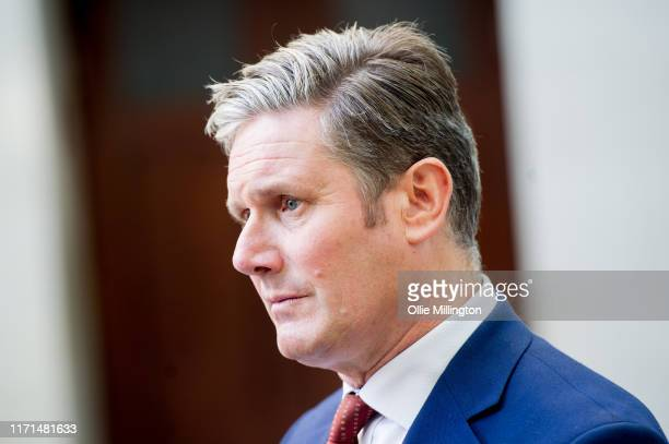 Sir Keir Starmer shadow Brexit secretary leaves the BBC after being interviewed on the Andrew Marr show on September 01 2019 in London England
