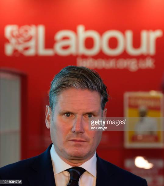 Sir Keir Starmer Shadow Secretary of State for Exiting the European Union gives media interviews on day three of the Labour Party Conference on...