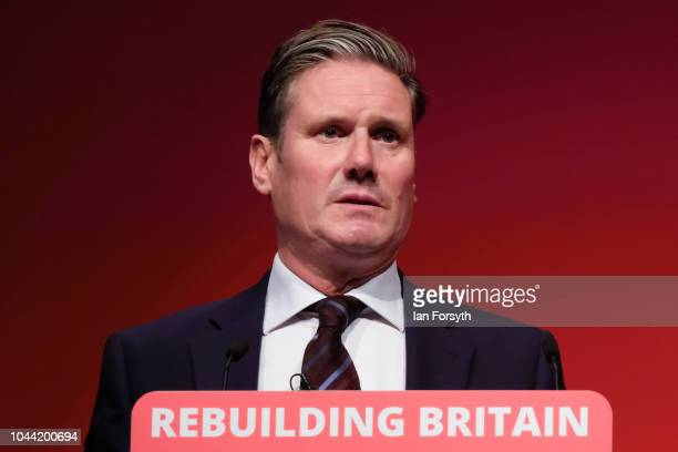 Sir Keir Starmer Shadow Secretary of State for Exiting the European Union delivers his speech on day three of the Labour Party Conference on...