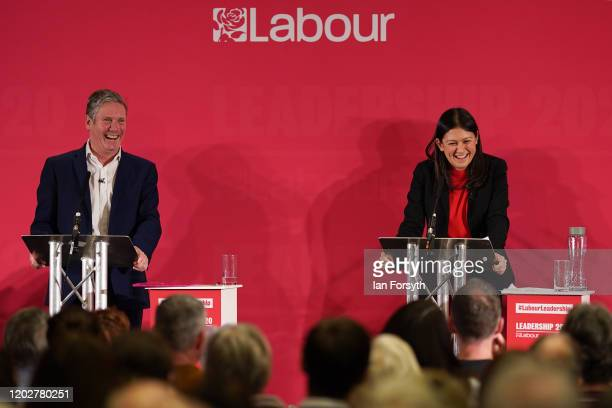 Sir Keir Starmer Shadow Secretary of State for Exiting the European Union Lisa Nandy MP for Wigan address the audience during the Labour Party...