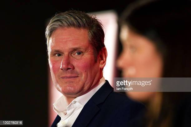 Sir Keir Starmer Shadow Secretary of State for Exiting the European Union looks on as Lisa Nandy MP for Wigan addresses the audience during the...