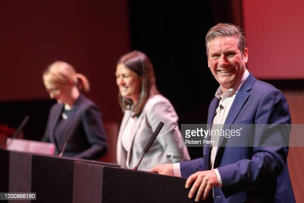 Sir Keir Starmer smiles on stage at the Labour leadership hustings at SEC in Glasgow on February 15, 2020 in Glasgow, Scotland. Sir Keir Starmer,...