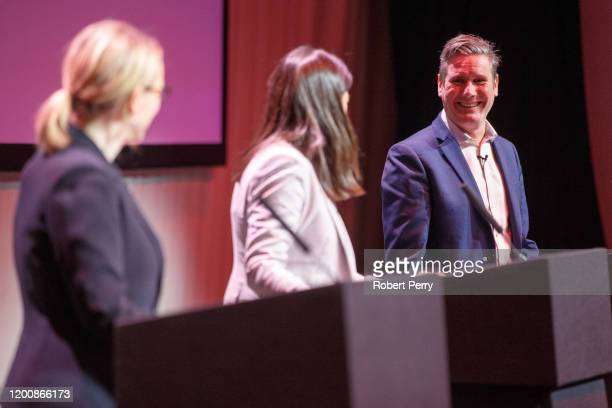 Sir Keir Starmer smiles towards Lisa Nandy and Rebecca Long-Bailey at the Labour leadership hustings on the stage at SEC in Glasgow on February 15,...