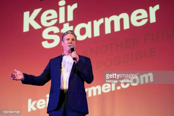 Sir Keir Starmer speaks during a Labour leadership rally at the Neon on February 19 2020 in Newport Wales Sir Keir Starmer Rebecca LongBailey and...