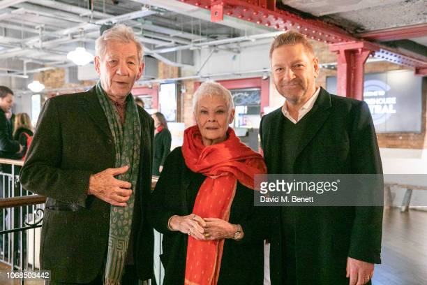 Sir Kenneth Branagh Dame Judi Dench and Sir Ian McKellen attend a BAFTA screening of ALL IS TRUE at Picturehouse Central on December 4 2018 in London...