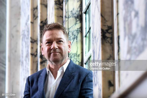 Sir Kenneth Branagh poses this morning inside Belfast City Hall as he receives the 'Freedom Of The City' on January 30 2018 in Belfast Northern...