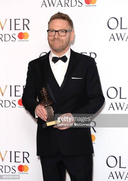 Sir Kenneth Branagh with his 'Special Award' in the winners room at The Olivier Awards 2017 at Royal Albert Hall on April 9 2017 in London England