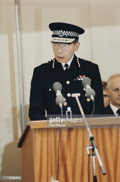 Sir Kenneth Newman , Commissioner of the Metropolitan Police, makes a speech at the unveiling of a monument to WPC Yvonne Fletcher in London, 1984....