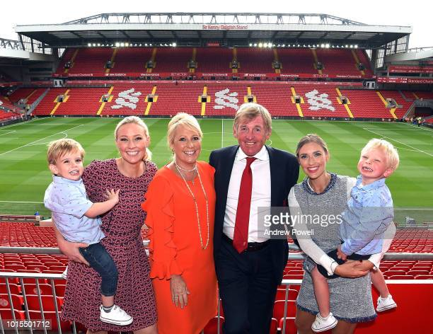 Sir Kenny Dalglish legend of Liverpool in front of the now named Sir Kenny Dalglish Stand with his wife Marina Dalglish daughters Lynsey and Lauren...