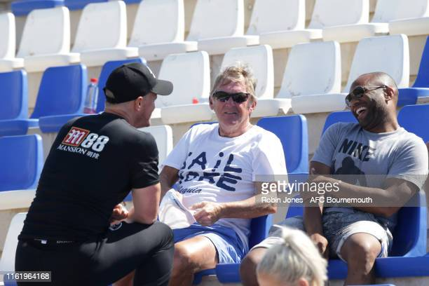 Sir Kenny Dalglish with Bournemouth manager Eddie Howe after an AFC Bournemouth preseason training session at La Manga Club on July 14 2019 in...