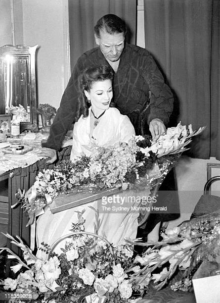 Sir Laurence Olivier and Vivien Leigh in Leigh's dressing room after the final curtain call on the opening night of 'School for Scandal' at the...
