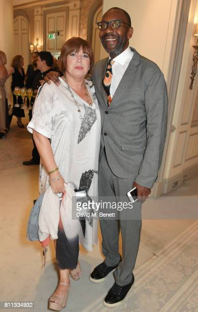 Sir Lenny Henry and Lisa Makin attend The South Bank Sky Arts Awards drinks reception at The Savoy Hotel on July 9 2017 in London England