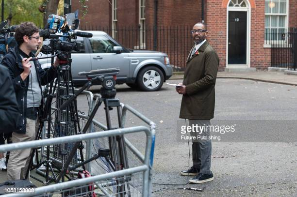 Sir Lenny Henry speakes to the media at Downing Street in central London as representatives of film and television industry deliver a letter to No10...