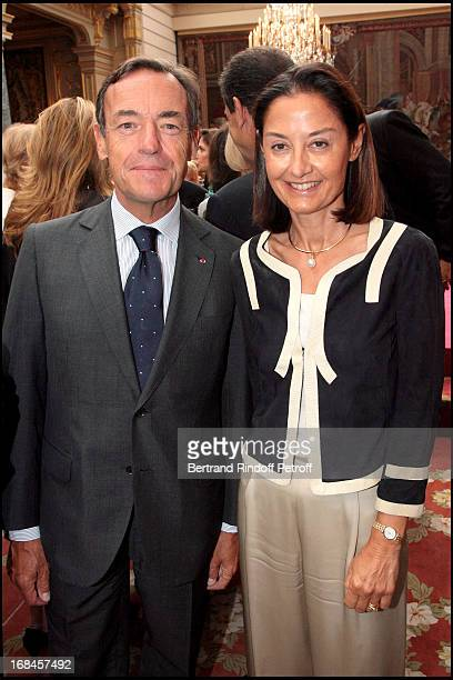 Sir Lindsay Owen Jones and his wife at Claudia Cardinale And Giorgio Armani Awarded By French President Nicolas Sarkozy With Insignias Of The Legion...
