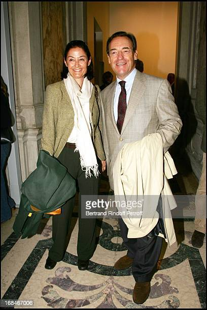Sir Lindsay Owen Jones and Lady Christina at Private Viewing Of The Exhibition 'Where Are We Going' In Venice