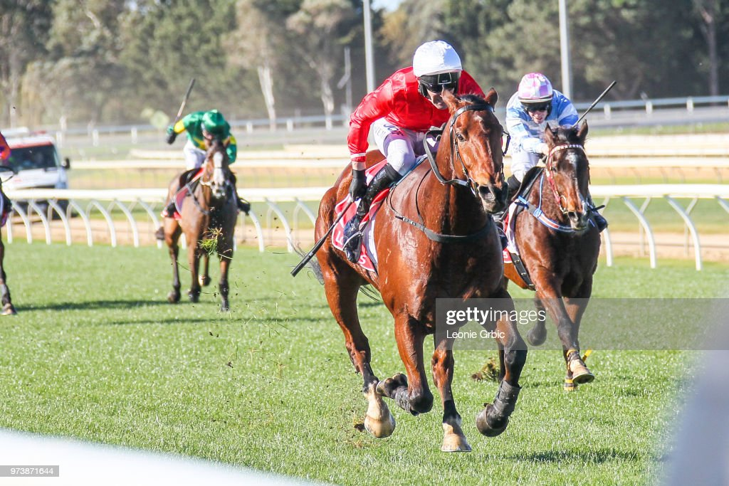 Sir Lopez ridden by Steven Pateman wins the E-Cycle Solutions Maiden Hurdle at Sale Racecourse on June 14, 2018 in Sale, Australia.