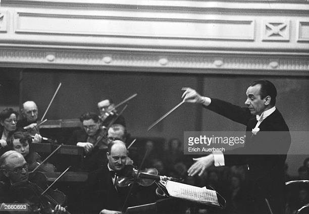 Sir Malcolm Sargent conducting the Halle orchestra in Rochdale.