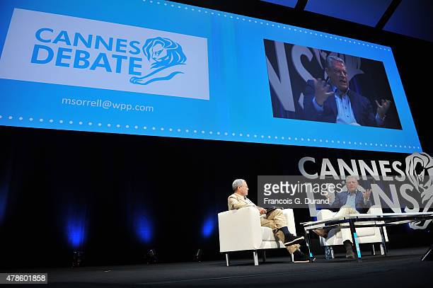 Sir Martin Sorrell and Al Gore in conversation during the WPP seminar as part of the Cannes Lions International Festival of Creativity on June 26...