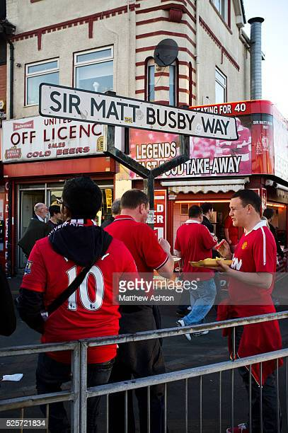 Sir Matt Busby Way Old Trafford the home stadium of Manchester United