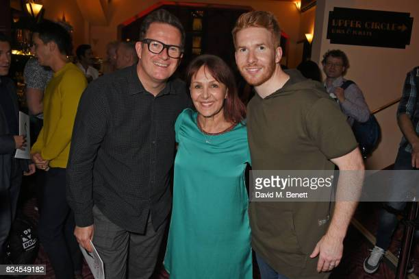 Sir Matthew Bourne director Arlene Phillips and Neil Jones attend a drinks reception celebrating 'Gala For Grenfell' a special gala bringing together...