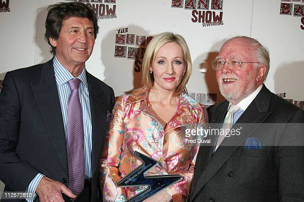 Sir Melvyn Bragg J K Rowling and Sir Richard Attenborough pose at The South Bank Show Awards held at the Dorchester Hotel on January 29 2008 in...