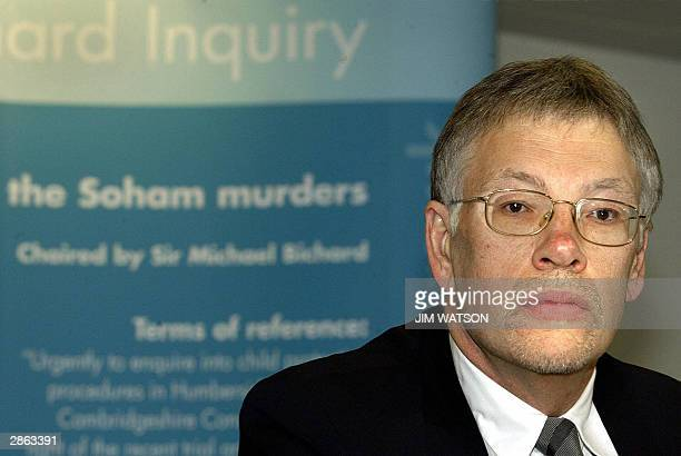 Sir Michael Bichard poses 13 January 2004 in London at the opening of a public inquiry into how Soham killer Ian Huntley got a school caretaker job...