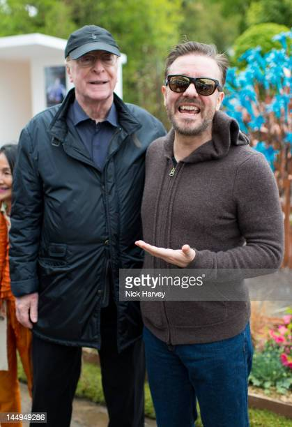 Sir Michael Caine and Ricky Gervais attend the press and VIP preview day for The Chelsea Flower Show at Royal Hospital Chelsea on May 21, 2012 in...