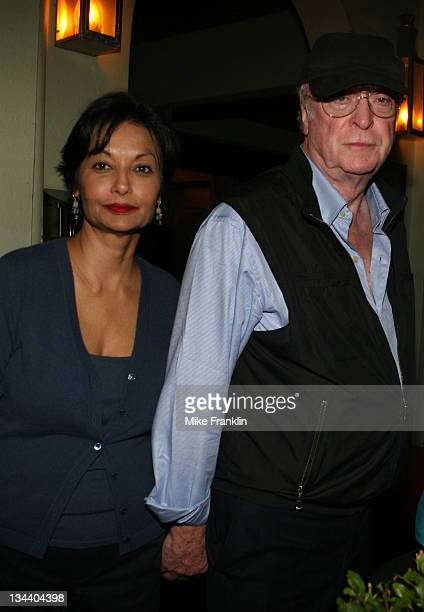 Sir Michael Caine and wife Shakira Caine arrive at DeVito's Restaurant on January 17 2008 in Miami Beach Florida
