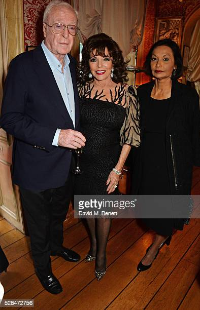 """Sir Michael Caine, Dame Joan Collins and Shakira Caine attend the launch of Dame Joan Collins' new book """"The St. Tropez Lonely Hearts Club"""" at..."""