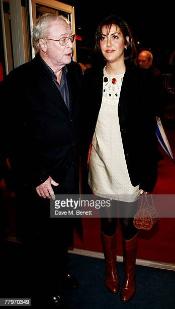 Sir Michael Caine with daughter Natasha arrive at the UK film premiere of 'Sleuth', at Odeon West End on November 18, 2007 in London, England.