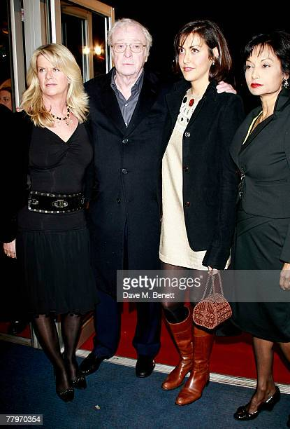 Sir Michael Caine with daughters Natasha and Nikki and wife Shakira Caine arrive at the UK film premiere of 'Sleuth', at Odeon West End on November...