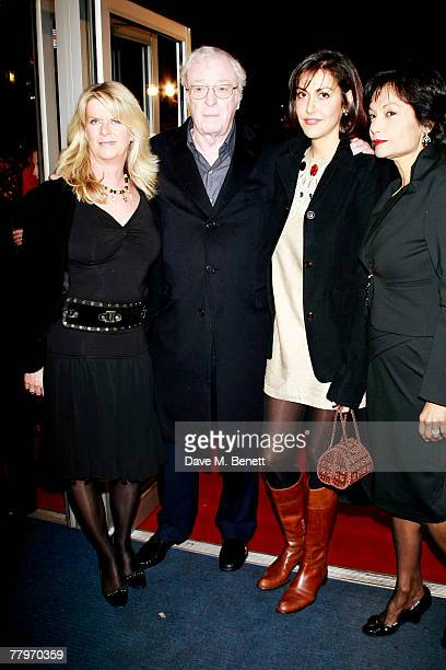 Sir Michael Caine with daughters Natasha and Nikki and wife Shakira Caine arrive at the UK film premiere of 'Sleuth' at Odeon West End on November 18...