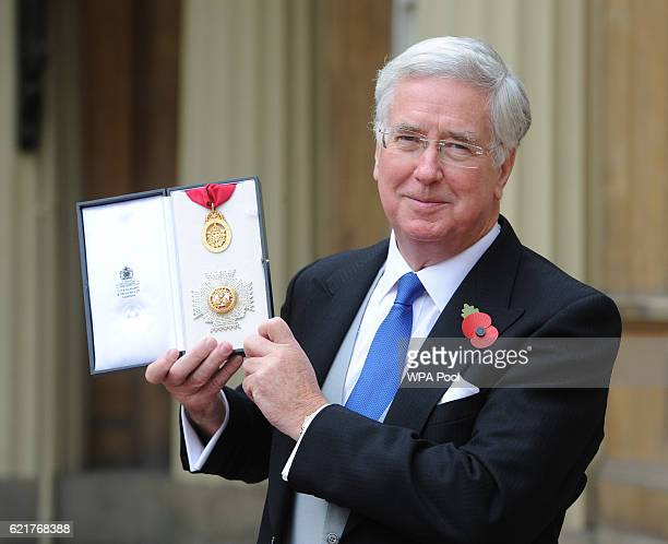 Sir Michael Fallon who received a Knighthood to be Knight Commander of the Order of the Bath at an Investiture ceremony at Buckingham Palace on...