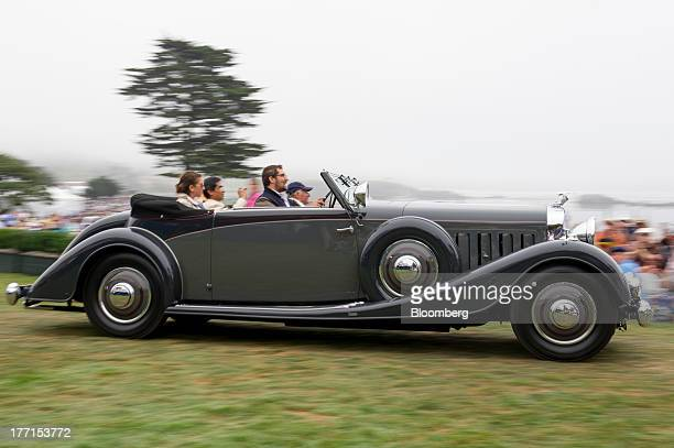 Sir Michael Kadoorie of Hong Kong drives his 1934 Hispano Suiza J12 Vanvooren Coupe during the 2013 Pebble Beach Concours d' Elegance in Pebble Beach...