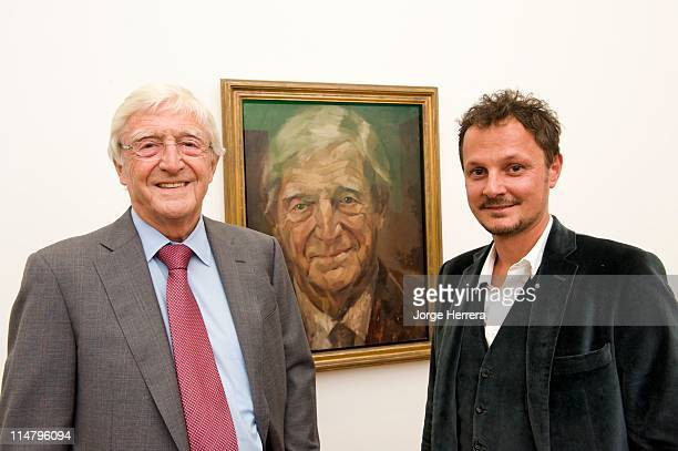 Sir Michael Parkinson and artist Jonathan Yeo attend the unveiling of Michael Parkinson's portrait at the National Portrait Gallery on May 26 2011 in...