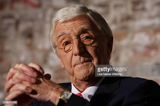 Sir Michael Parkinson attends a media conference at the Sydney Theatre Company on February 1 2011 in Sydney Australia The legendary journalists will...