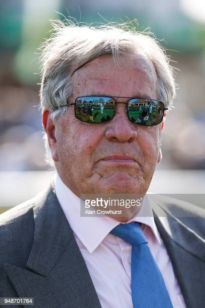 Sir Michael Stoute poses at Newmarket racecourse on April 19 2018 in Newmarket England