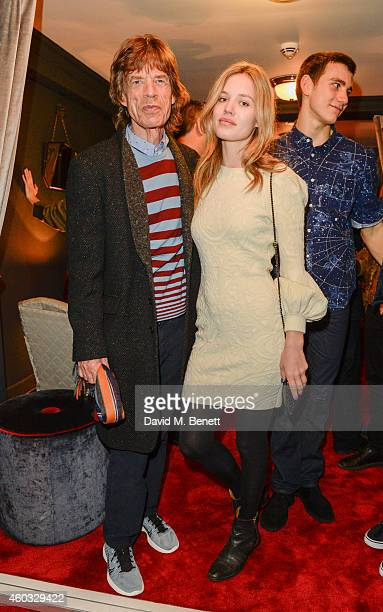 Sir Mick Jagger and Georgia May Jagger attend the press night performance of 'Snow White And The Seven Dwarfs' at the Richmond Theatre on December 11...