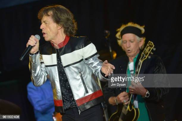 Sir Mick Jagger and Keith Richards of the Rolling Stones perform live on stage at London Stadium during the 'No Filter' tour on May 22 2018 in London...