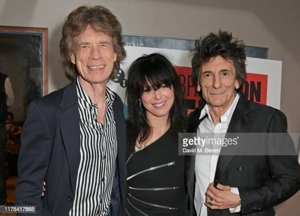 Sir Mick Jagger Imelda May and Ronnie Wood attend the World Premiere of Somebody Up There Likes Me during the 63rd BFI London Film Festival at BFI...