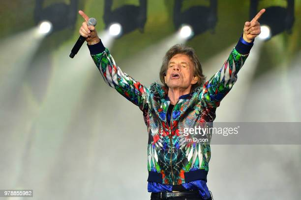 Sir Mick Jagger and Ronnie Wood of The Rolling Stones perform live on stage at Twickenham Stadium during the 'No Filter' tour on June 19 2018 in...