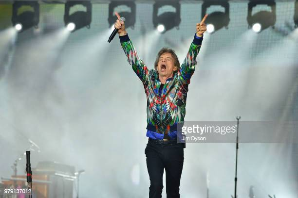 Sir Mick Jagger of The Rolling Stones performs live on stage at Twickenham Stadium during the 'No Filter' tour on June 19 2018 in London England