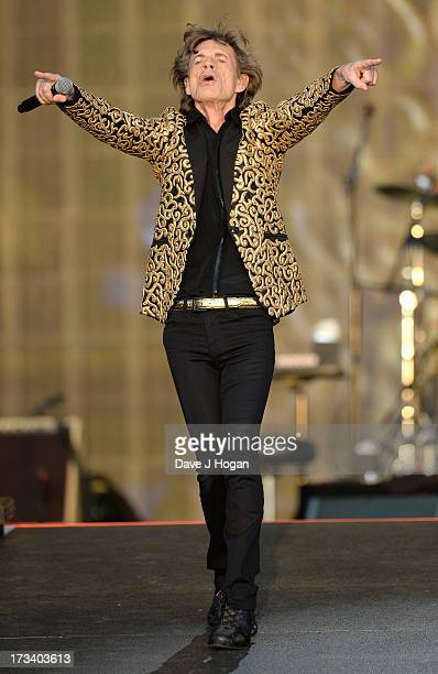Sir Mick Jagger of The Rolling Stones performs on stage during a headline performance as part of Barclaycard Present British Summer Time Hyde Park on...