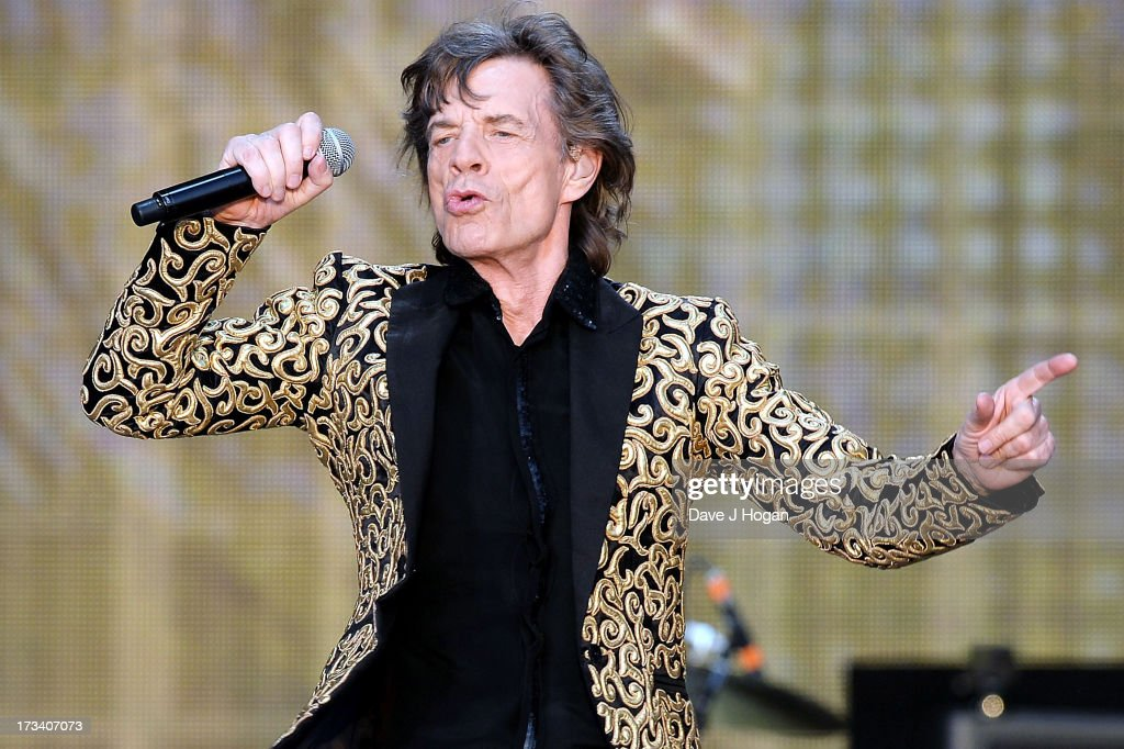 Sir Mick Jagger of The Rolling Stones performs on stage during a headline performance as part of Barclaycard Present British Summer Time Hyde Park on July 13, 2013 in London, England.