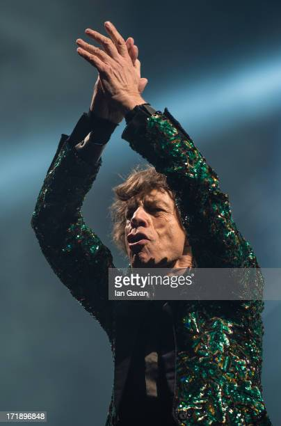 Sir Mick Jagger of The Rolling Stones performs on the Pyramid Stage during day 3 of the 2013 Glastonbury Festival at Worthy Farm on June 29 2013 in...