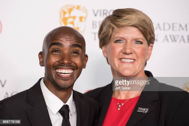 Sir Mo Farah and Clare Balding pose in the press room at the Virgin TV British Academy Television Awards at The Royal Festival Hall on May 13 2018 in...