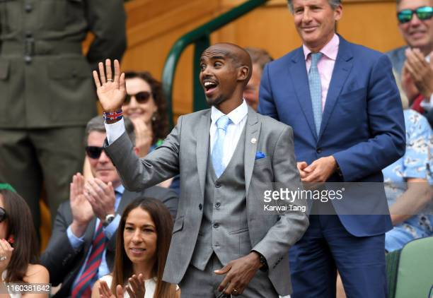 Sir Mo Farah attends day six of the Wimbledon Tennis Championships at All England Lawn Tennis and Croquet Club on July 06 2019 in London England